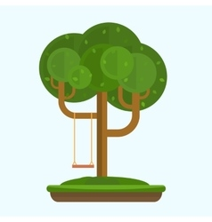 Swing on tree in park vector