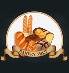 baking shop emblem bread logo for bakery shop vector image