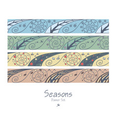 Banners with four seasons vector