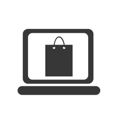 black laptop with shopping bag design vector image vector image