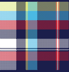 blue check pixel fabric texture seamless pattern vector image