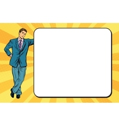 Business man next to a poster vector image vector image
