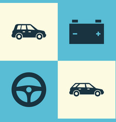 Car icons set collection of accumulator vector