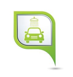 car wash symbol on green map pointer vector image vector image