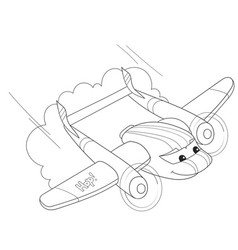 cartoon coloring helicopter with faces live vector image vector image
