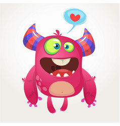 Cartoon pink cool monster in love vector