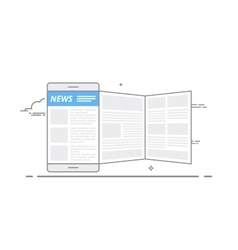 Concept of using a mobile device to read news on vector