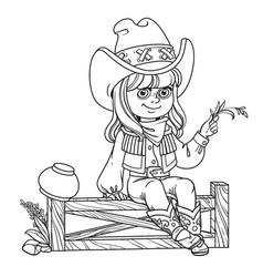 Cute girl in a cowboy costume sits on a fence vector