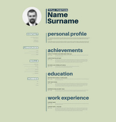 Cv resume template with nice typography vector