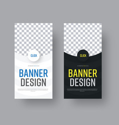 design vertical black and white web banners with vector image vector image