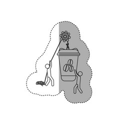 Figure people with pulleys hanging the coffee vector
