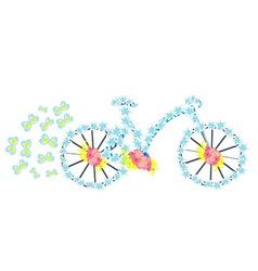 flower vintage bicycle vector image