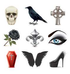 gothic attributes icons vector image