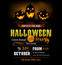 halloween party invitation with scary pumpkins vector image vector image