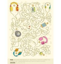 Headphones maze game vector image