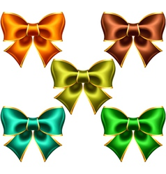 Holiday bows with gold edging vector
