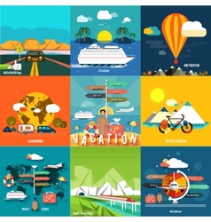 Icons set of traveling and planning a summer vector image