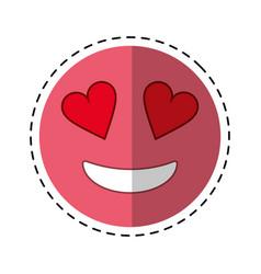 love emoticon style cut line vector image