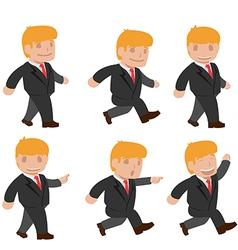 Man Run Walk Funny Cartoon Set vector image