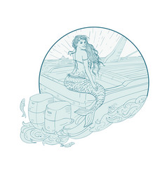 mermaid sitting on boat drawing vector image vector image