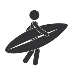 monochrome silhouette of man with surf table vector image