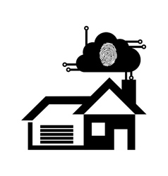 Pictogram home security technology finger print vector