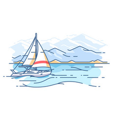 sailing yacht in sea vector image vector image