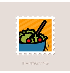 Salad bowl stamp harvest thanksgiving vector