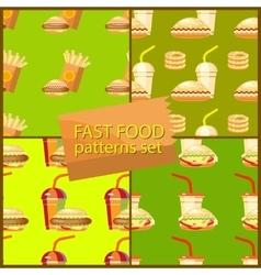Seamless fast food background patterns set with vector image vector image