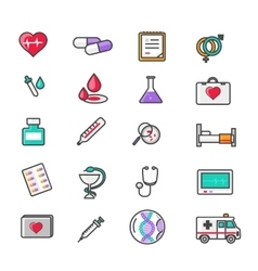 Set of Outline Medicine Icons vector image vector image