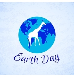 Silhouette of a giraffe over planet earth earth vector