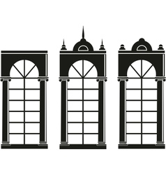 silhouettes of medieval windows vector image