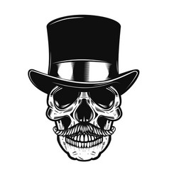 skull in vintage hat design element for poster vector image vector image