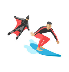 Snowboard jumping extreme athletes vector
