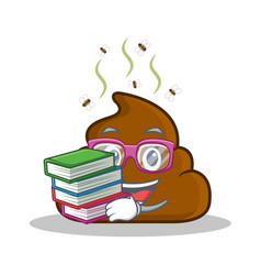 Student with book poop emoticon character cartoon vector