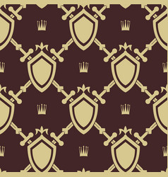 Sword and shield seamless pattern vector
