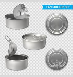 Tin cans transparent set vector