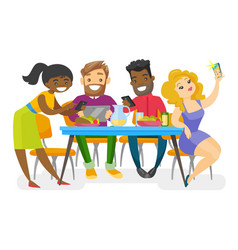 young multiethnic friends hanging out together vector image vector image