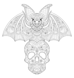 Zentangle stylized bat seating on sugar skull for vector