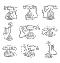 Old retro phones pencil sketch icons vector