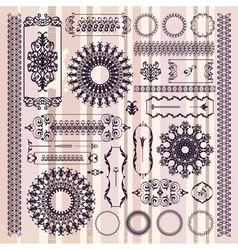 Collection of beautiful ornamental vintage vector
