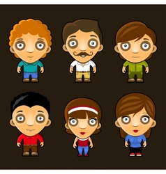 Set of funny people cartoon characters vector