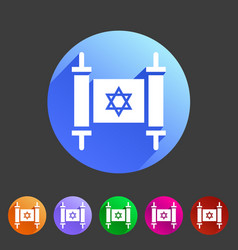 torah jewish scroll book icon flat web sign symbol vector image