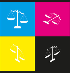 Scales of justice sign  white icon with vector