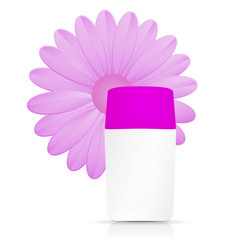 Cream bottle with purple flowers on white vector