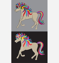 Beauty horse rainbow vector