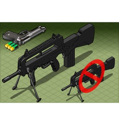 Isometric submachine and pistol in front view vector
