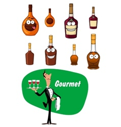 Wine steward and alcoholic drinks collection vector image
