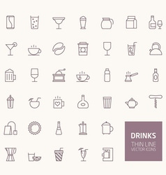 Drinks outline icons for web and mobile apps vector