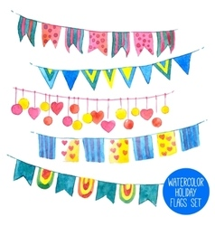 Watercolor holiday garlands set vector